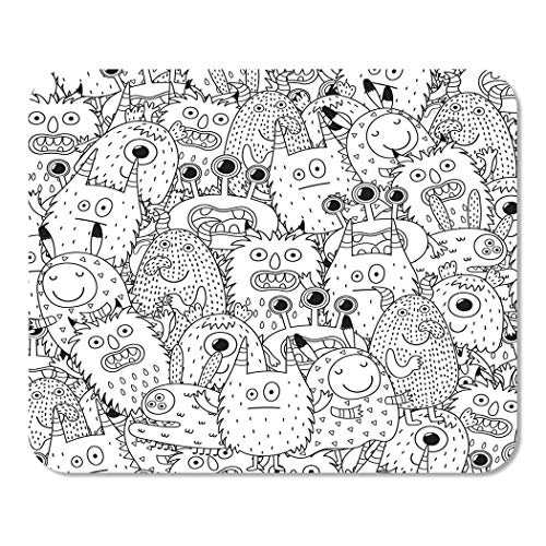 Suike Mousepad Computer Notepad Office Halloween Funny Monsters for Coloring Book Black and White Page Scary Adult Alien Home School Game Player Computer Worker 9.5x7.9 Inch ()