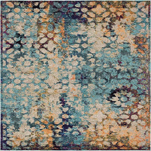 Unique Loom Vita Collection Traditional Over-Dyed Vintage Blue Square Rug (8' x 8')