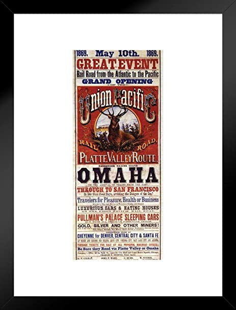 Poster Foundry Union Pacific Platte Valley Route Omaha To San Francisco Railroad Vintage Travel Matted Framed Wall Art Print 20x26 Inch Posters Prints