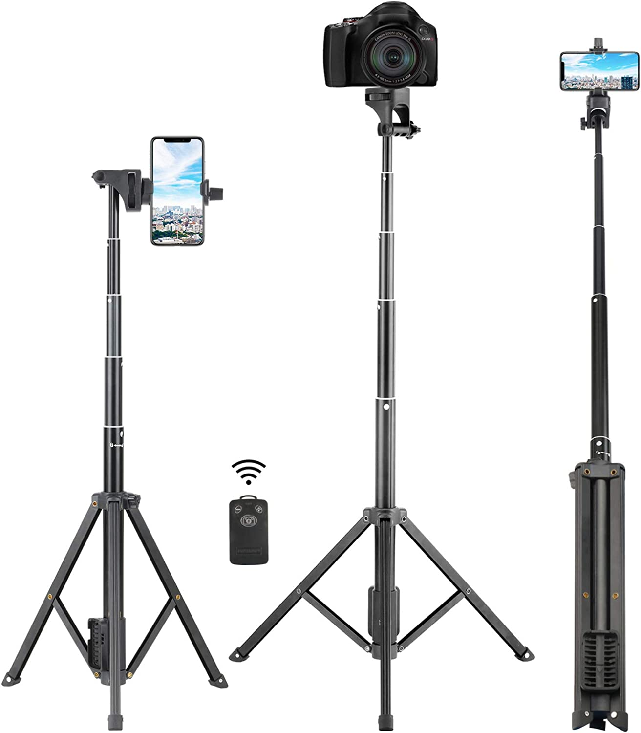 Selfie Stick Tripod, Eocean 54'' Extendable Selfie Stick with Phone Tripod Stand & Wireless Remote for iPhone SE 11 Pro Max X 8 7 6 Galaxy Note 9 Android, Perfect for Live Stream/Vlog, Lightweight