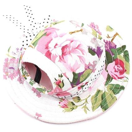 Amazon.com   BUYITNOW Round Brim Pet Hat Adjustable Small Dog Flower ... 5fcb65ca46d