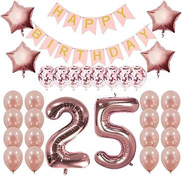 Amazon.com: Decoraciones de cumpleaños de oro rosa., 25 ...
