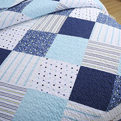 NEWLAKE Cotton Bedspread Quilt Sets-Reversible Patchwork Coverlet Set, Geometric Country Style Pattern, Queen Size by NEWLAKE (Image #4)