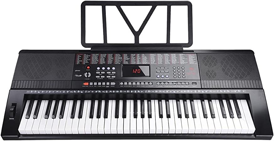 AW Teclado electrónico de 61 teclas, tamaño completo, pantalla LCD de piano eléctrica, entrada USB, MP3, negro