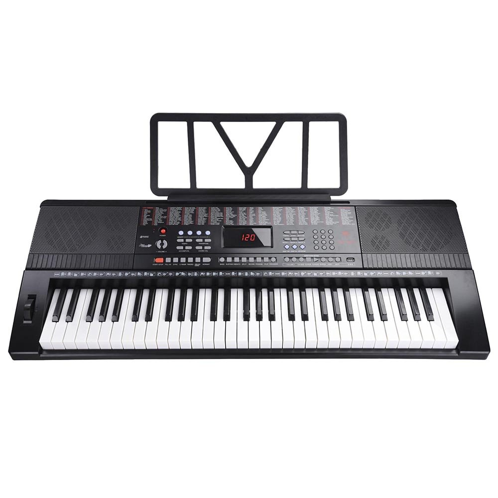 AW 61 Key Full Size Electronic Music Keyboard Electric Piano LCD Display USB Input MP3 Black AW-EPN000007