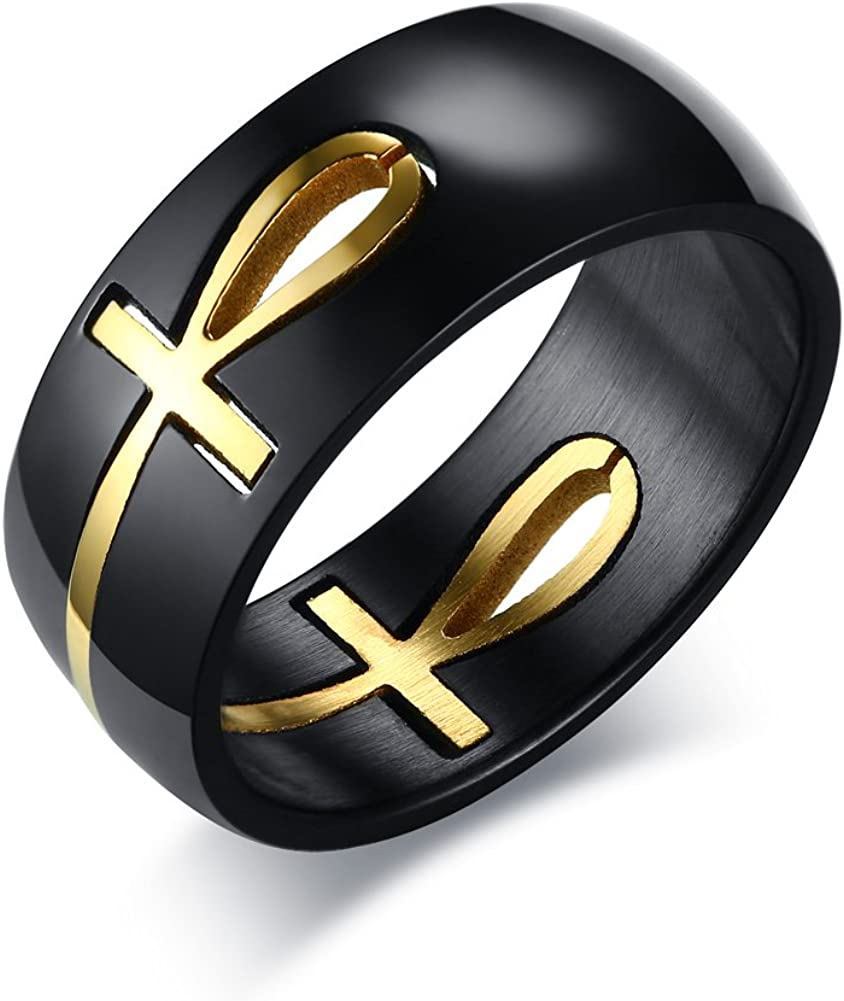 XUANPAI 18K Gold Plated Hollow Stainless Steel Removable Ankh Cross Ring for Men,Size 8-12