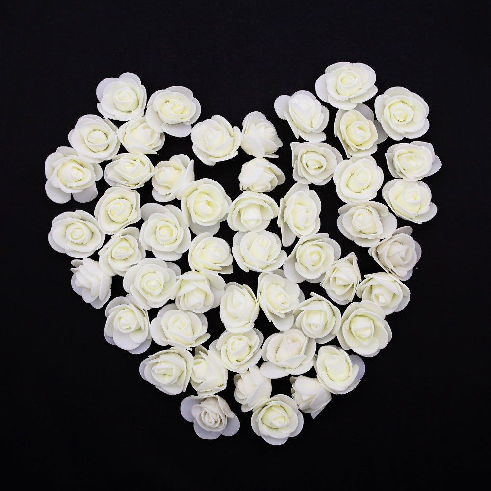 Fake Flower Heads, Mini Artificial Foam Rose Flower Head Fake Flowers Artificial Floral for Vase Filler Wedding Decoration Bridal Shower, 50 PCS