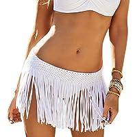 DELEY Mujeres Niñas Ganchillo Borla De Falda Corta Trajes De Baño Bikini Cubrir Verano Trajes De Baño