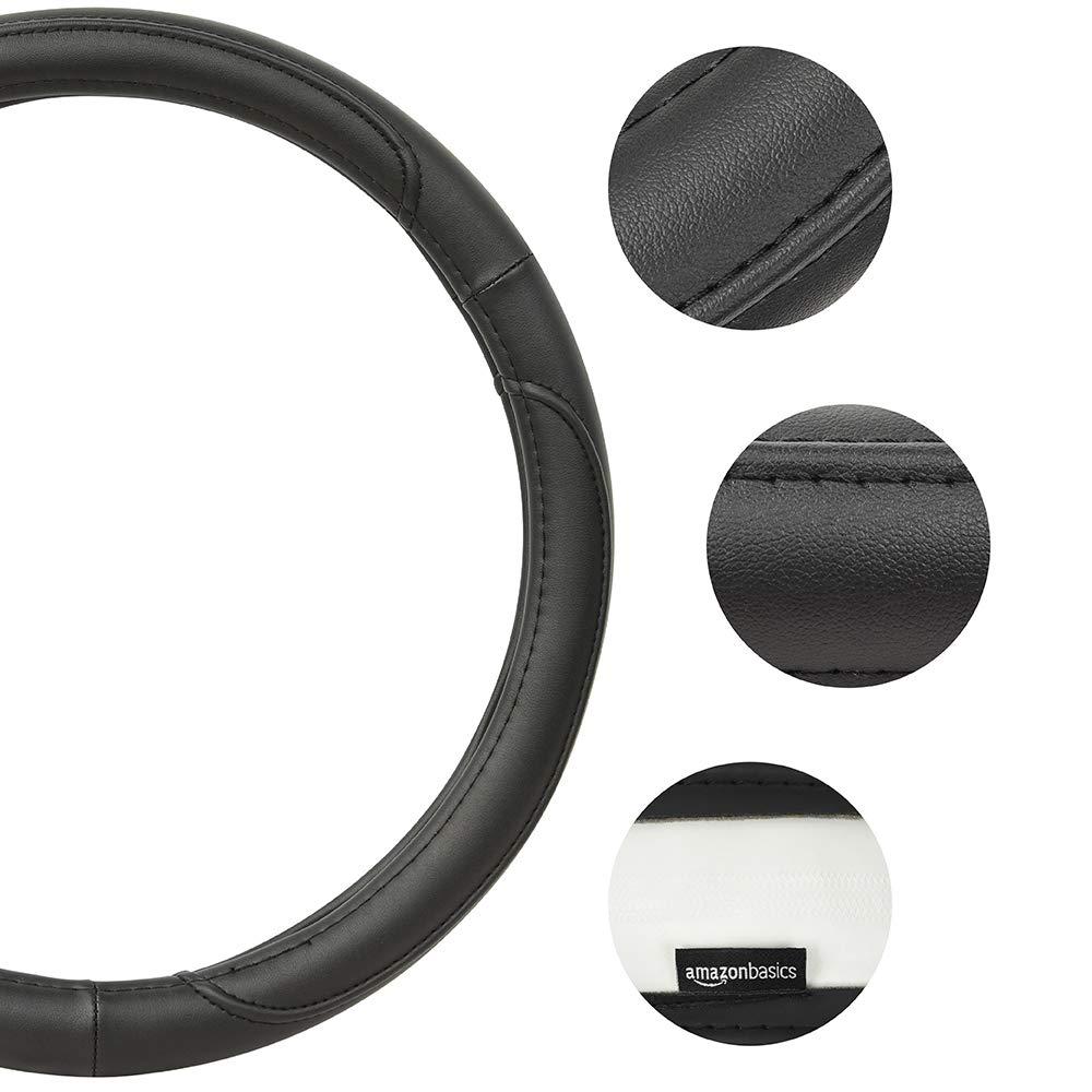 negro 38 cm 38,1 cm Basics Cubierta para volante de cuero sint/ético