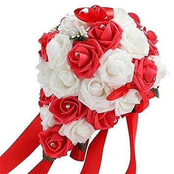 Tangbasi Bouquet De Fleurs Rose Romantique En Mousse Artificiel Pour