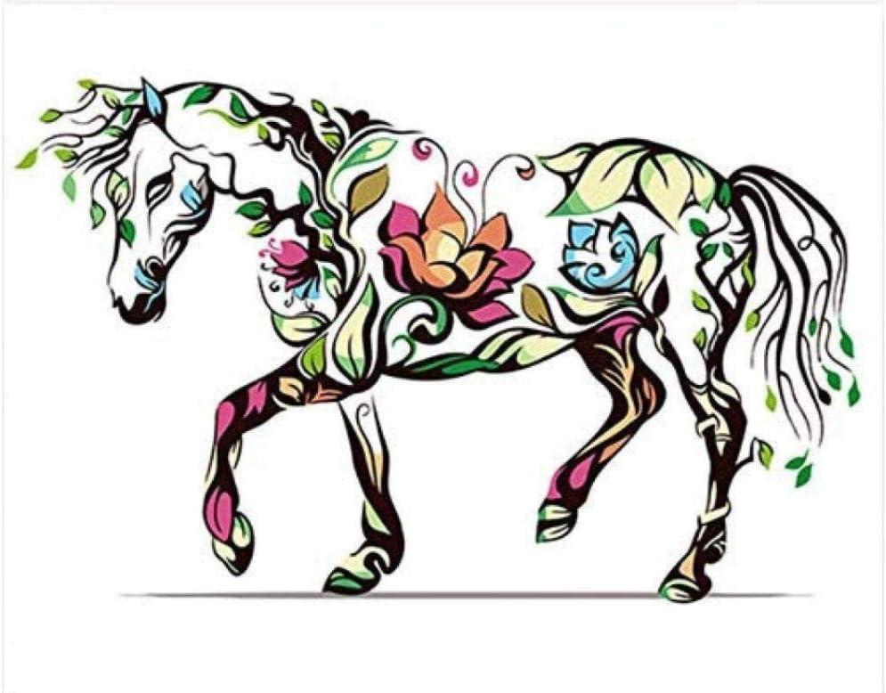 HAOLL DIY Acuarela Pintura al óleo Caballo Arte Cuadros Dibujo Pintura por números con Colores números para Sala decoración 40x50 cm sin Marco