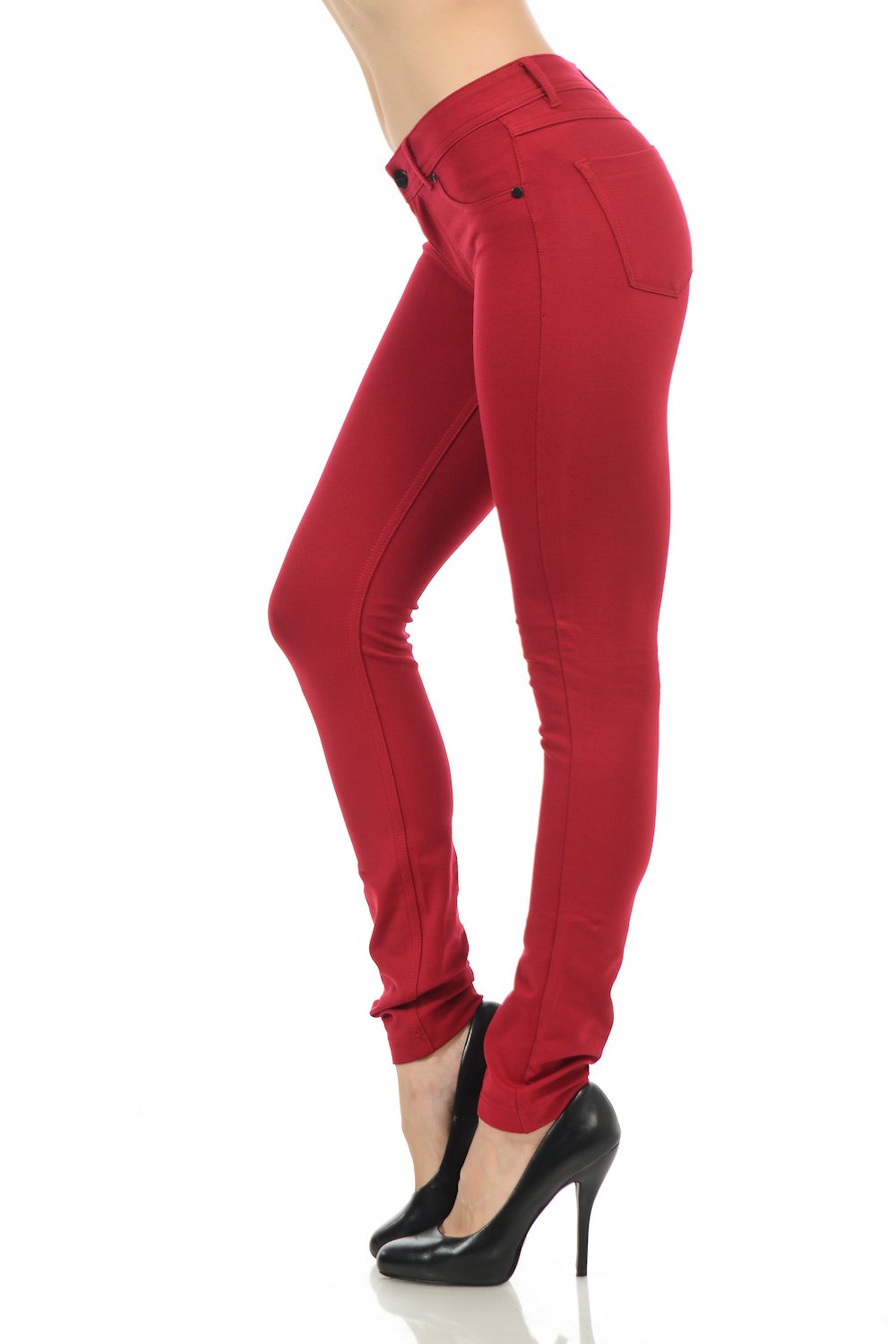 YourStyle Stretchy Slim Fit Skinny Long Jegging Pants (Small, Dark Red)