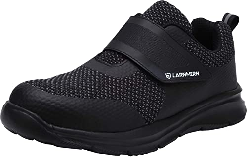 cb0fa3fdfe326 LARNMERN Mens Womens Steel Toe Work Shoes, LM-1821 Knit Breathable  Lightweight Safety Shoes with Magic Tape