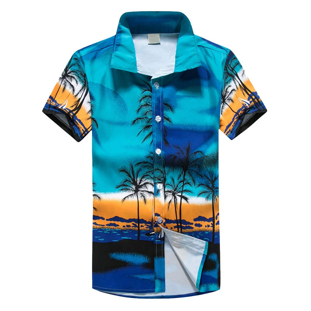NUWFOR Men Hawaiian Print Short T-Shirt Sports Beach Quick Dry Blouse Top Blouse(Blue,XL US Chest:45.7''