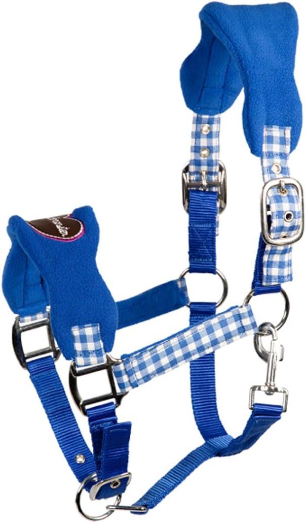 PFIFF 102433-80-Cob - Cabestro de plástico para Caballo (Talla M), Color marrón y Azul Claro