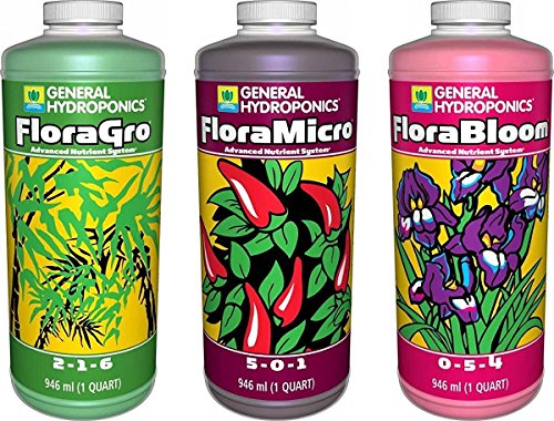 General Hydroponics Flora Grow, Bloom, Micro Combo Fertilizer set, 1 Quart (Pack of 3) (General Hydroponics Nutrients)