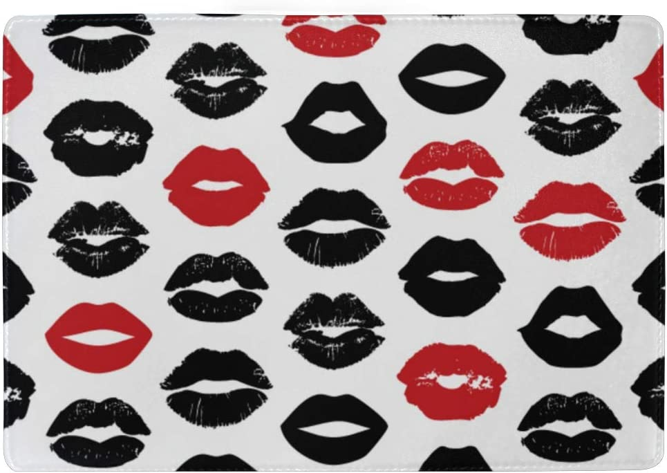 Beautiful Lips Of Woman With Red Lipstick Blocking Print Passport Holder Cover Case Travel Luggage Passport Wallet Card Holder Made With Leather For Men Women Kids Family
