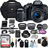 Canon EOS Rebel T7i 24.2MP DSLR Camera Bundle with EF-S 18-55mm f/4-5.6 IS STM Lens + 32GB Memory + Camera Bag + 3 Pc Filter Kit + 2.2x Telephoto + 0.43x Macro Close Up Lens + More Accessories