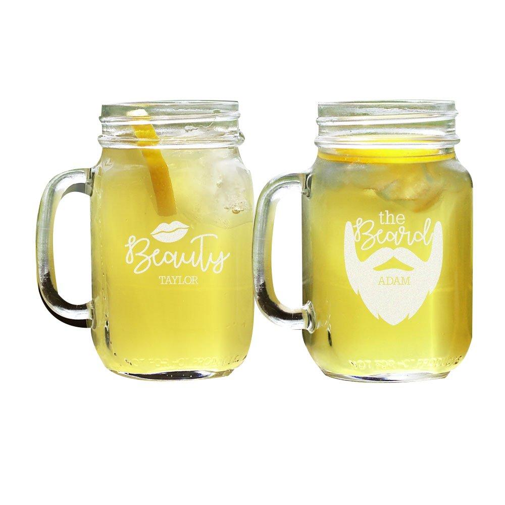 GiftsForYouNow Beauty and The Beard Personalized Mason Jar Set