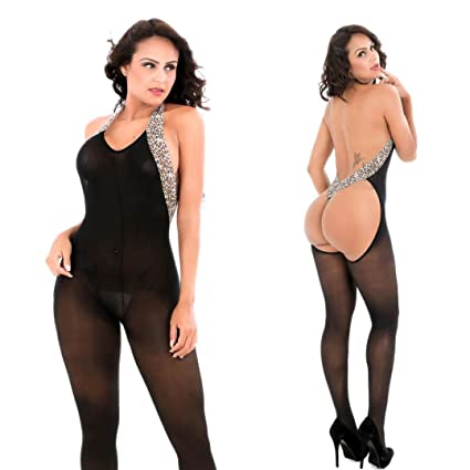 9c80828fd Amazon.com  Snowfoller Women Leopard Patchwork Hanging Neck Bodystockings  Perspective Underwear Sexy Hole Sleeveless Nightwear  Home Improvement