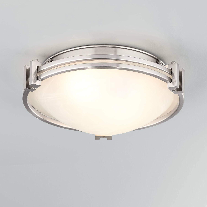 "Possini Euro Deco 12 3/4"" Wide Brushed Nickel Ceiling Light"