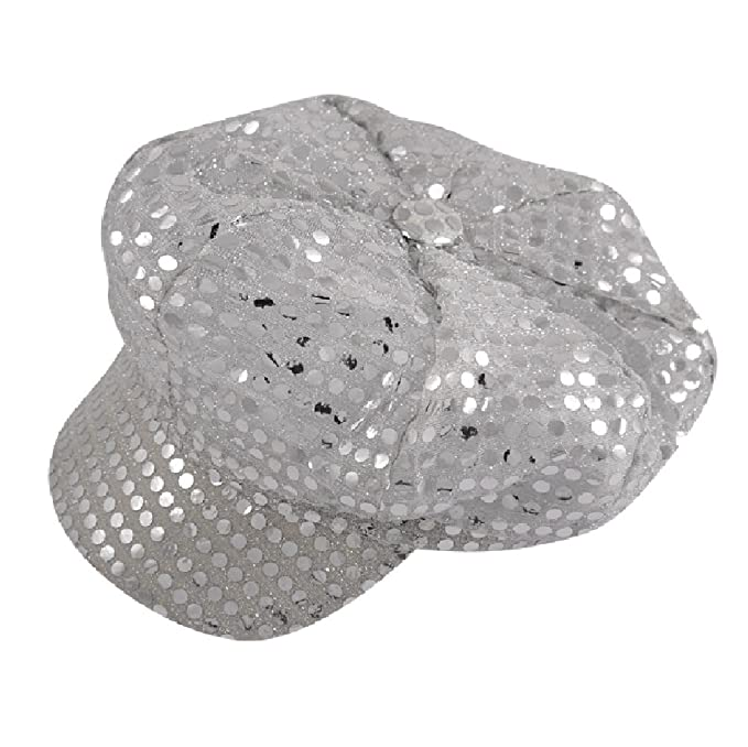 Hippie Hats,  70s Hats Women 70s Sequin Disco Hat in Silver - Fancy Dress Accessory - One Size $10.99 AT vintagedancer.com