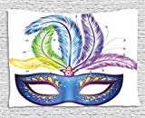 Best Ambesonne Masquerade Masks - Ambesonne Mardi Gras Tapestry, Blue Ornate Venetian Festival Review