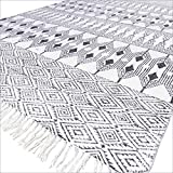 EYES OF INDIA - 4 X 6 ft White Black Cotton Block Print Accent Area Dhurrie Rug Flat Weave Hand Woven Boho Chic Indian Bohemian