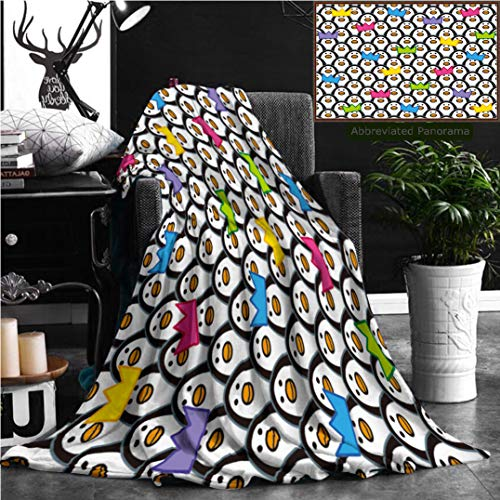 Nalagoo Unique Custom Flannel Blankets Penguins Wearing Colored Party Hats Amongst Rows Of Identically Repeating And Forward Staring Super Soft Blanketry for Bed Couch, Twin Size 80