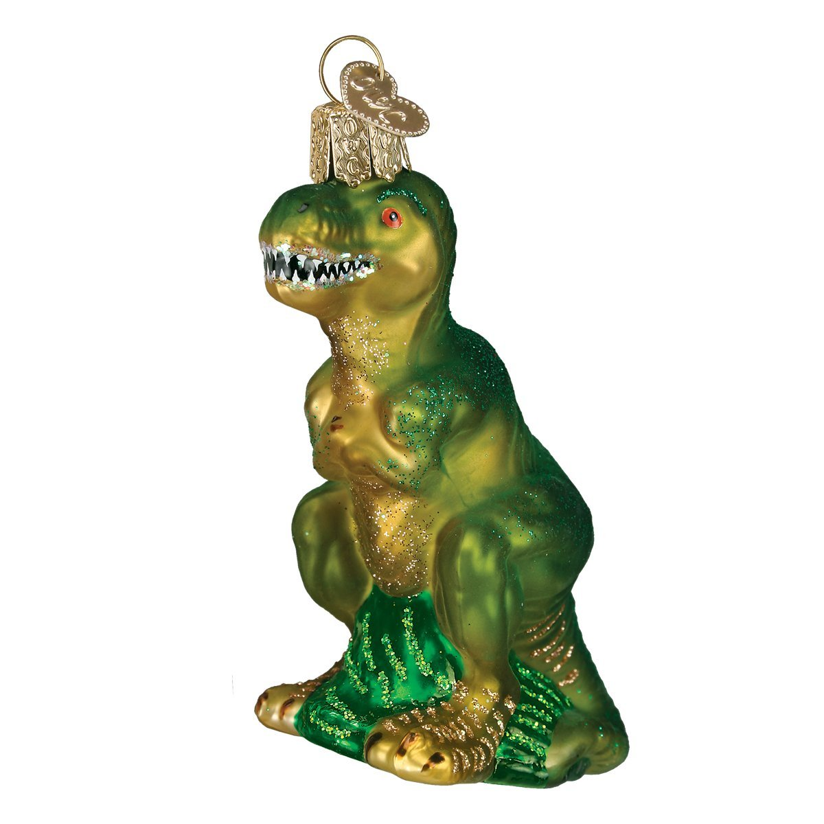 Old World Christmas Glass Blown Ornament with S-Hook and Gift Box, More Animals Collection (T-Rex)
