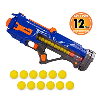NextX Power Popper Rival Gun With Refill Balls, High Capacity Air Powered Foam  Ball Blaster
