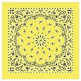 American Made Yellow Western Paisley Bandanas - Dozen Packed 22x22