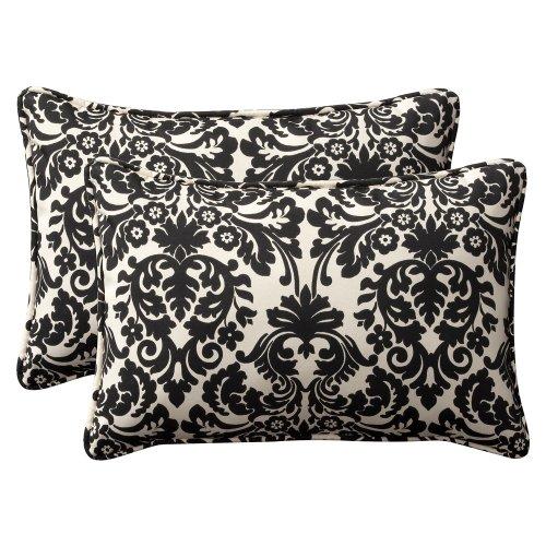 Decorative Rectangle Pillow Toss (Pillow Perfect Decorative Black/Beige Damask Toss Pillow Rectangle, 2-Pack)