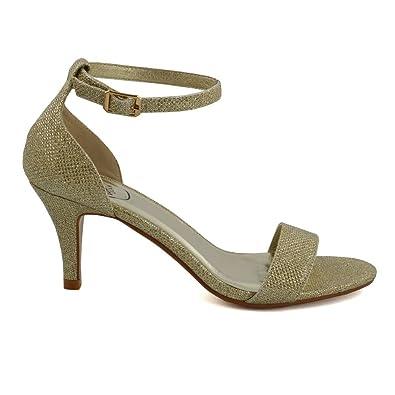 00ba1a26eb18 ESSEX GLAM Women s Low Heel Peep Toe Stiletto Gold Glitter Sandal Shoes 6 B (M