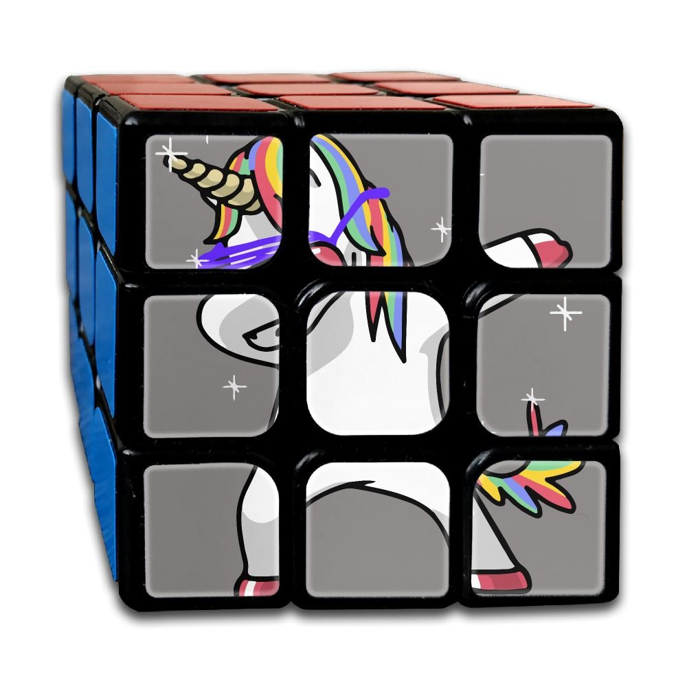 Amazon com dabbing unicorn 3x3x3 speed cube carbon fiber sticker smooth magic cube puzzles cell phones accessories