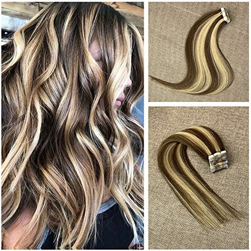 Komorebi Tape In #8 Light Brown Balayage Colored #613 Bleach Blonde Straight Brazilian Real Human Hair Remy Tape Hair Extensions 22 inch Seamless 50 Grams 20 Pieces Invisible Tape Hair (Dying Hair Dark Brown To Light Brown)