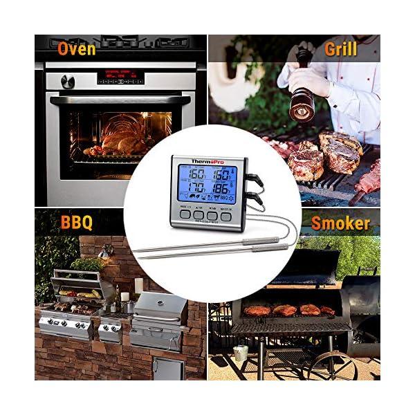 ThermoPro TP17 Termometro Cucina Digitale a Doppia Sonda con Modalità Timer e Display LCD per Cottura BBQ Alimenti Carne… 6