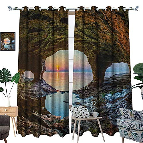 - Warm Family Natural Cave Thermal Insulating Blackout Curtain Horizon View from Fairy Mossy Invisible Big Grotto by The Sea Up Rocks Photo Patterned Drape for Glass Door W120 x L84 Green Blue