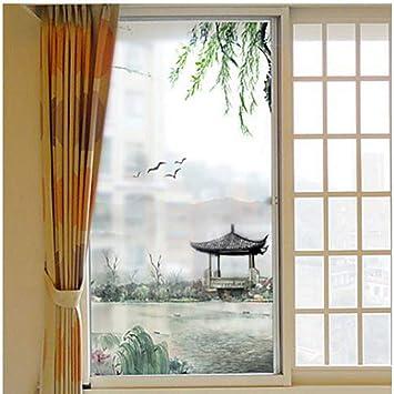 Película para ventana estática paisaje pintura paisaje vidrio ...