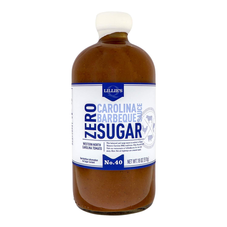 Lillie's Q - Zero Sugar Carolina Barbeque Sauce, Gourmet Carolina Sauce, Tangy BBQ Sauce with Tomato Vinegar, Sugar-Free Sauce, Keto-Friendly, Made with Gluten-Free Ingredients (18 oz)