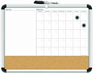 "Board Dudes 17"" x 23"" Aluminum Framed Magnetic 3-In-1 Dry Erase Cork Calendar Board (CXP65)"