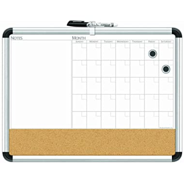 Board Dudes 17  x 23  Aluminum Framed Magnetic 3-In-1 Dry Erase Cork Calendar Board (CXP65)