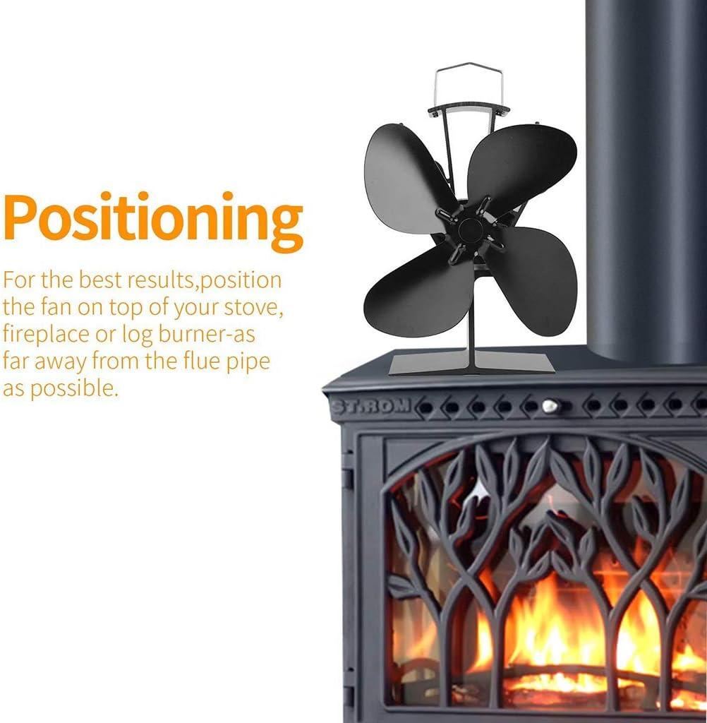 Fenteer Hitzebetriebener 4 Flügel Ventilator Ofenventilator für Holzofen Kamin Öfen - Silber Golden