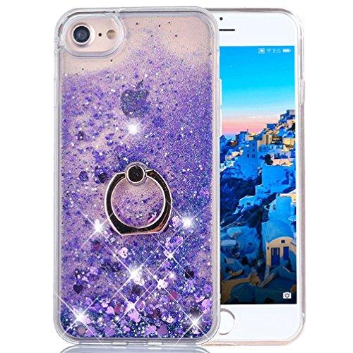 iPhone 6S Plus Liquid Case Glitter Cover Fashion Luxury Sparkling Liquid Quicksand Soft TPU + Hard PC Back Case 360 Rotating Ring Stand Holder Kickstand for Apple iPhone 6 Plus. Liquid- Love Purple