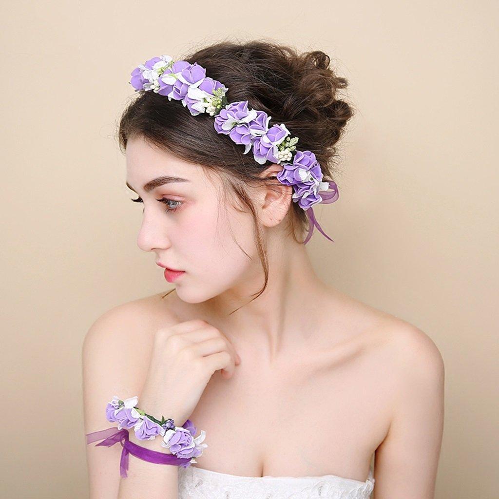 Wreath Flower, Headband Flower Garland Handmade Wedding Bride Party Ribbon Headband Wristband Hairband -Purple (Color : Purple)