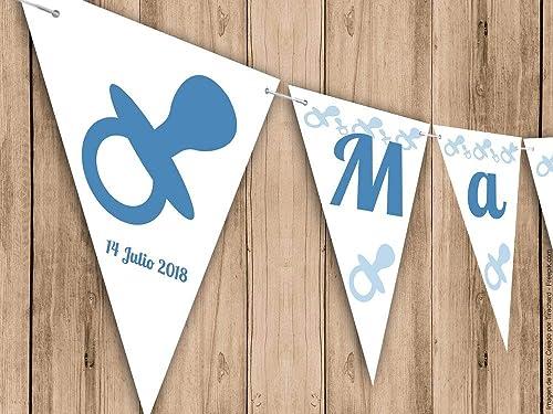 Guirnalda para cumpleaños, Bautizo o Baby Shower con chupete azul. Guirnalda decorativa. Banderines para fiestas. G002