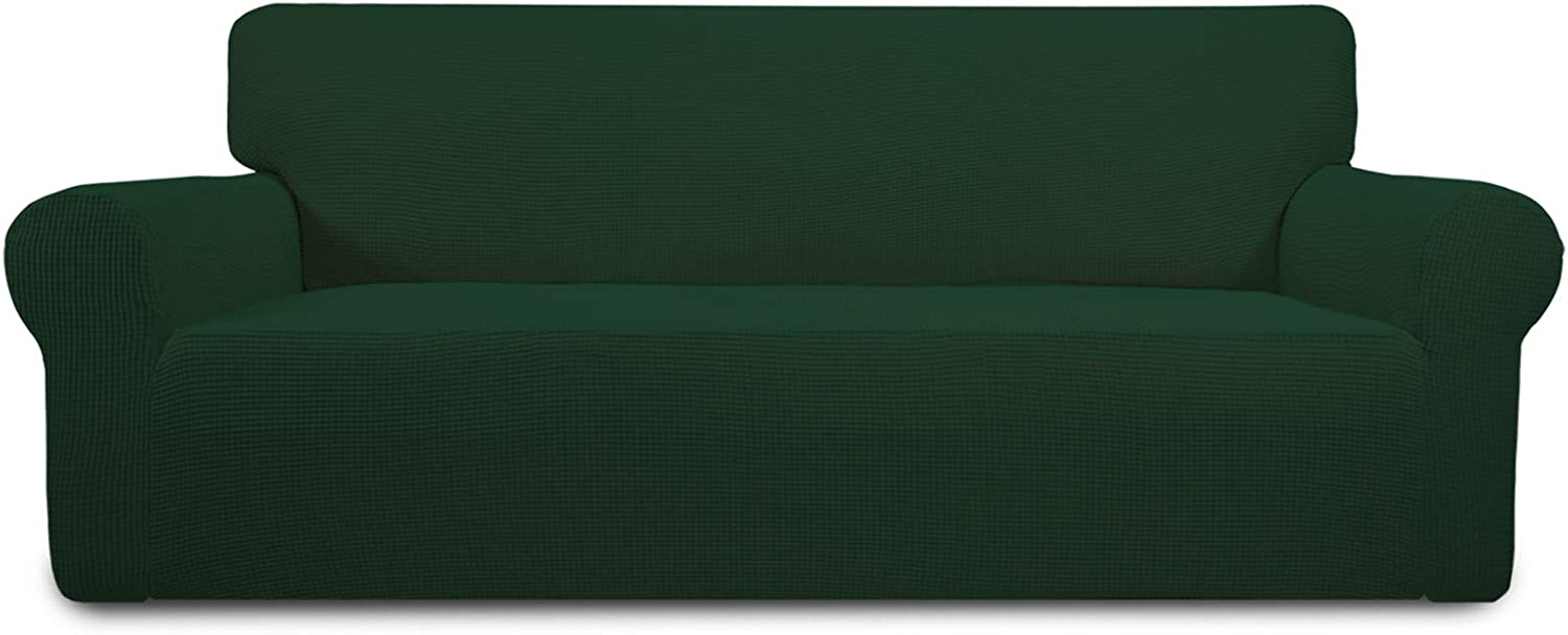 Easy-Going Stretch Sofa Slipcover 1-Piece Sofa Cover Furniture Protector Couch Soft with Elastic Bottom for Kids,Polyester Spandex Jacquard Fabric Small Checks(Sofa,Dark Green)