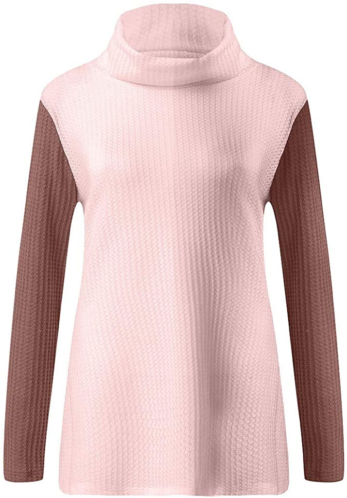 Sweater for Womens,Casual Off Shoulder Tops Patchwork Long Sleeve Loose Waffle Knitted Shirts Pullover Sweatshit