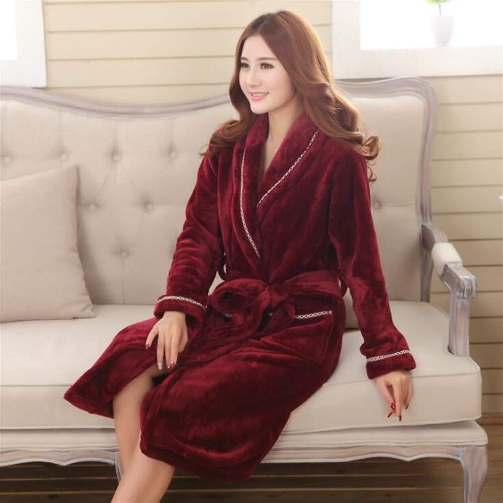 Yannay Bequeme Hochzeiten Badezimmer Leinen Flanell verdickt Paar Revers Bademantel warme Nachthemd Winter Pyjamas-Wein rot (Farbe : Wine red, Größe : XL)