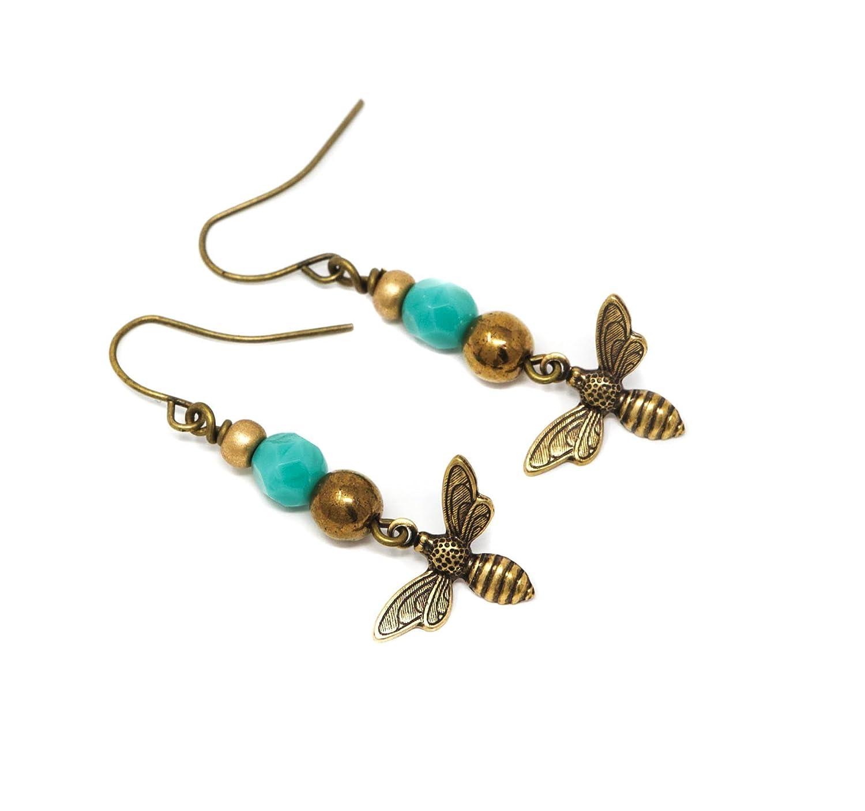 Aqua and Bronze Bee Dangle Earrings